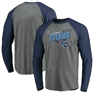 Men's Tennessee Titans Gray/Heathered Navy Triangular Throwback Raglan Long Sleeve T-Shirt