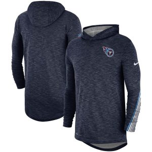 Men's Tennessee Titans Nike Navy Sideline Scrimmage Performance Hooded Long Sleeve T-Shirt