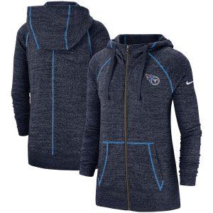 Women's Tennessee Titans Nike Heathered Navy Gym Vintage Raglan Full-Zip Hoodie